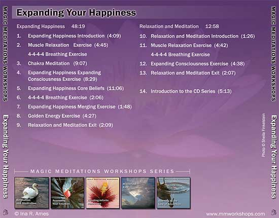 Expanding your happiness CD contents - back cover