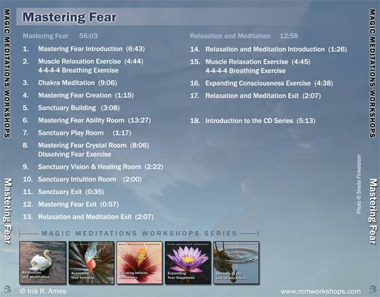 contents of Mastering Fear CD - back cover